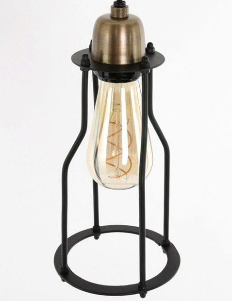 moderne stalen hanglamp met koper