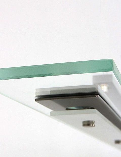 stalen hanglamp met glazen plaat