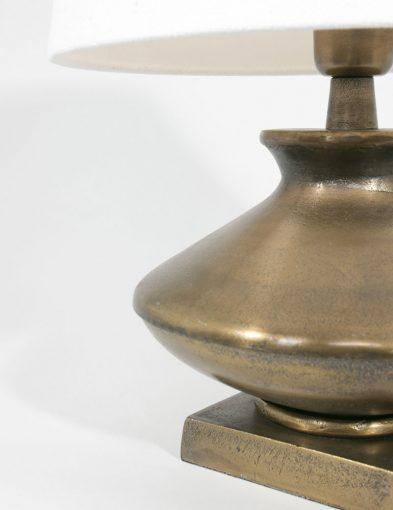 tafellamp brons met witte kap