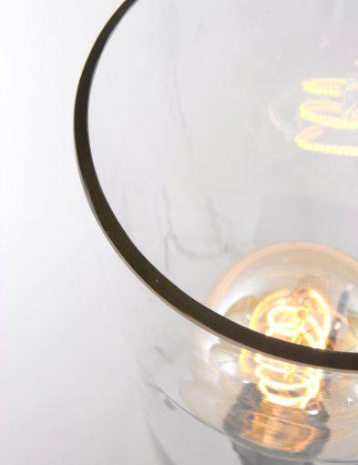 tafellamp met glazen kap
