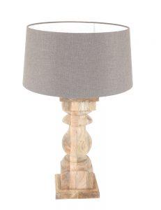 tafellamp met grijze kap en houten voet