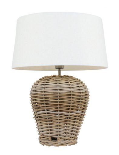 tafellamp met witte kap en rieten voet