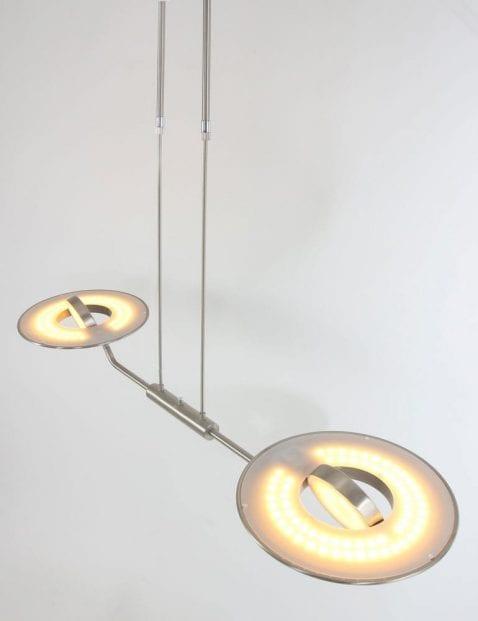 tweelichts stalen hanglamp