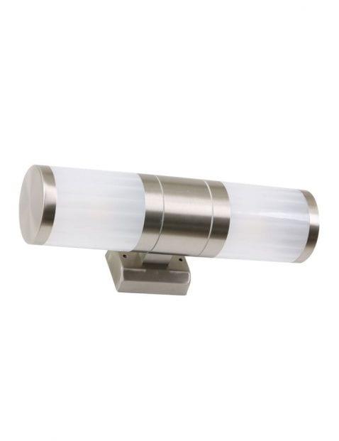 wandlamp staal en glas voor buiten