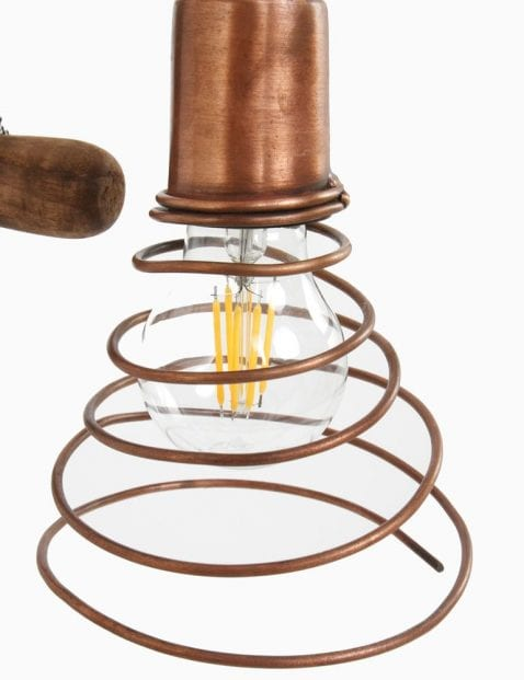 wandlamp van hout en koper