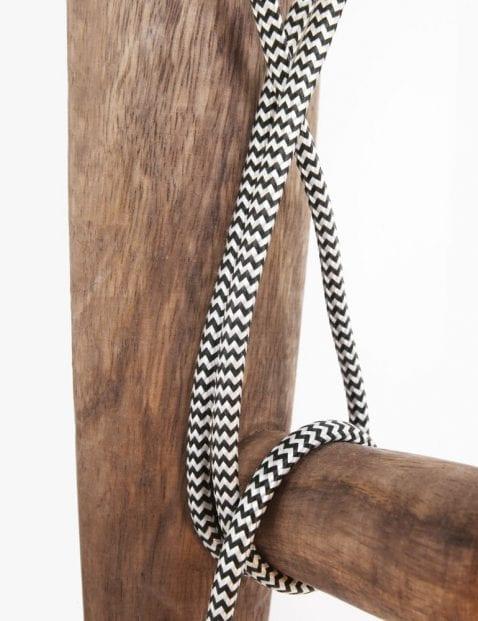 wandlamp van hout met strijkijzersnoer