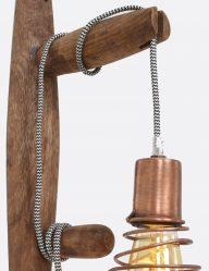 wandlamp van koper en hout met spiraalkap