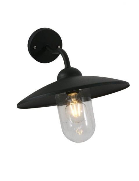 zwarte metalen buiten wandlamp
