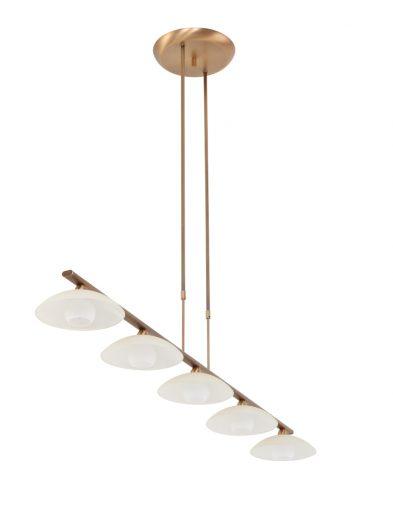 Bronskleurige hanglamp 5 lichts