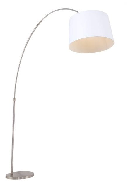 stalen booglamp met witte kap