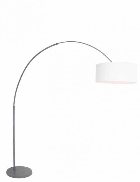 Grijze booglamp witte kap