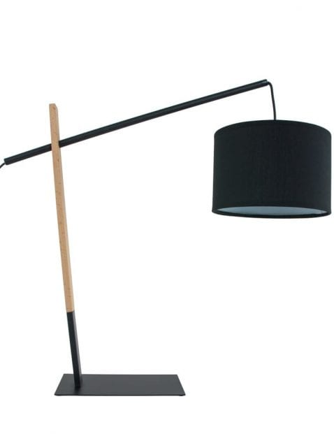 Grote-zwart-houten-tafellamp-met-kap