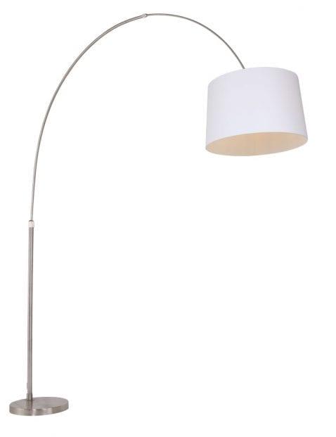 booglamp staal met witte kap