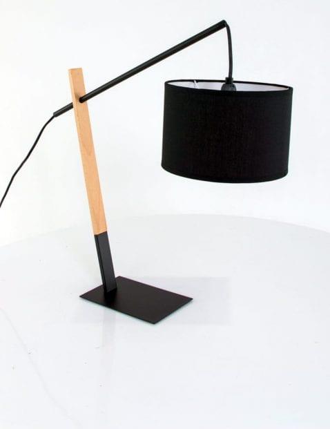 Landelijke tafellamp schemerkap zwart hout