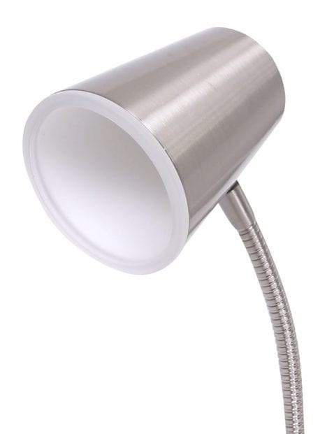 Staalkleurige verstelbare tafellamp