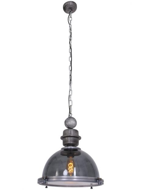 Stoere-doorschijnende-hanglamp-eettafel-rookglas-grijs