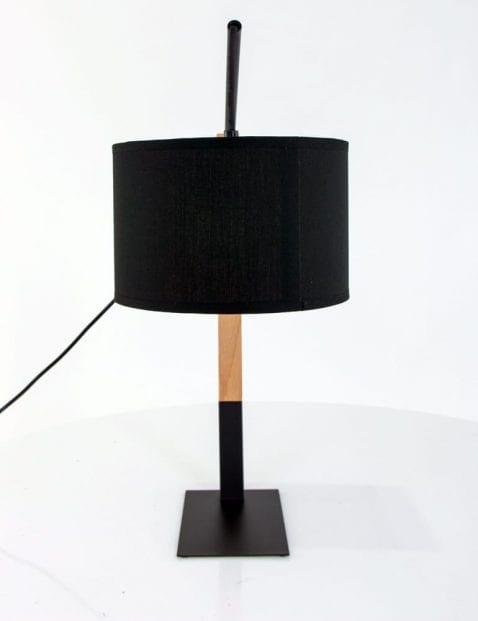 Stoere pion tafellamp hout zwart