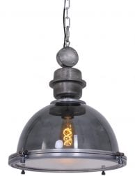 Transparante eettafellamp rookglas industrieel