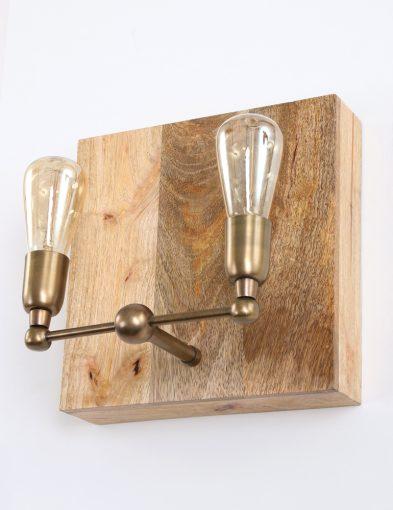 Wandlamp-hout-brons