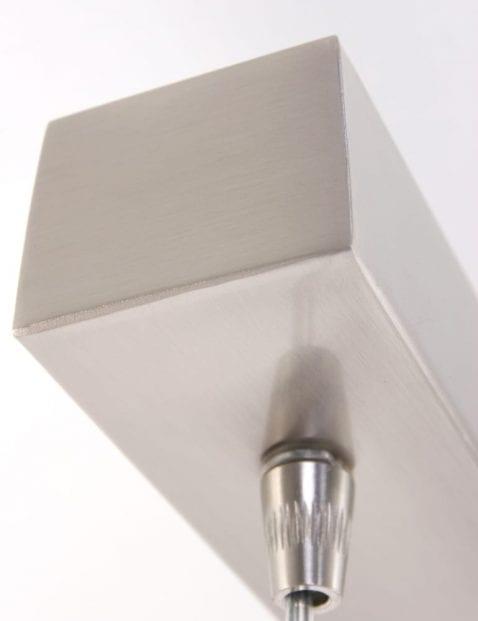 staalkleurige plafondlamp glas