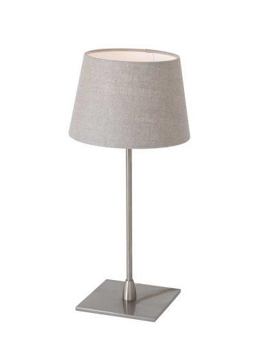 stalen tafellamp met stoffen kap