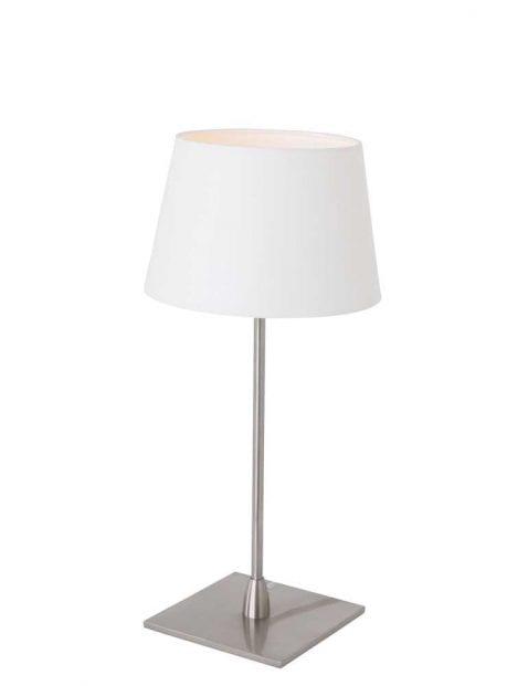 stalen tafellamp met witte kap
