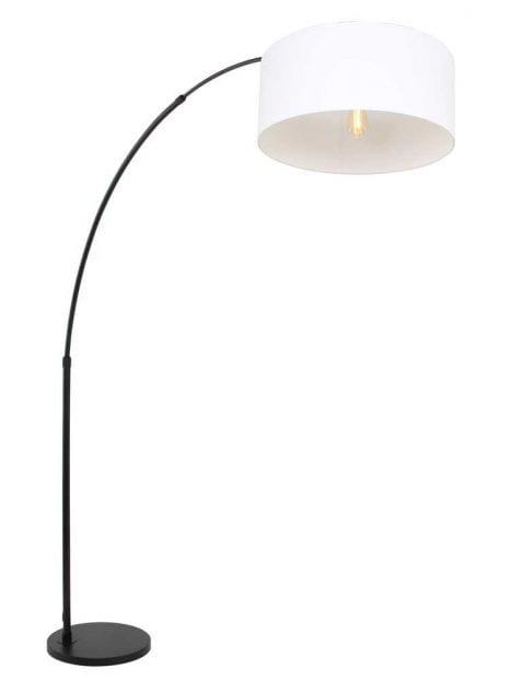 zwarte booglamp met witte kap