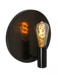 Ronde-wandlamp-zwart