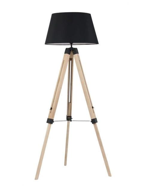 Houten driepoot vloerlamp