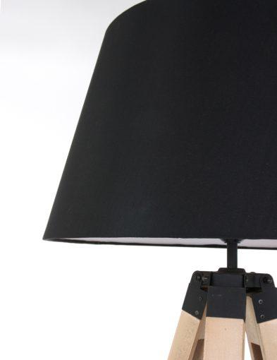 Houten lamp met stoffen kap