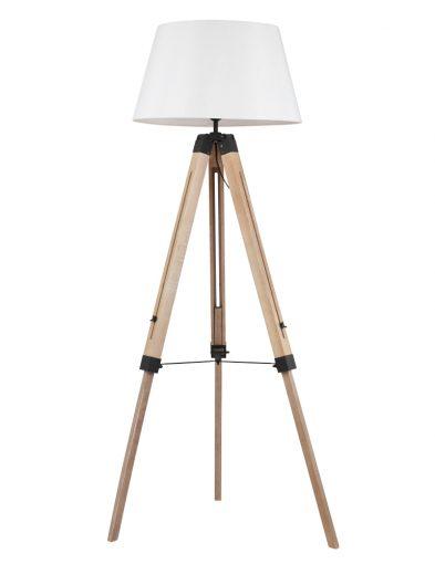 Scandinvasiche hout met stoffen vloerlamp