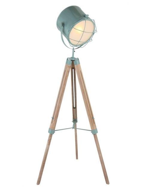 Hiippe houten vloerlamp met groen metaal
