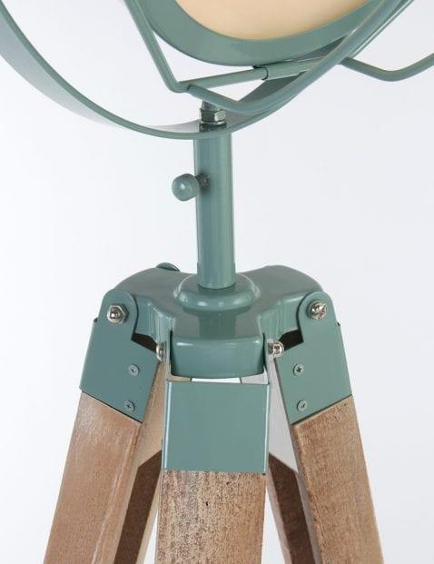 Groen metaal met houten poot vloerlamp