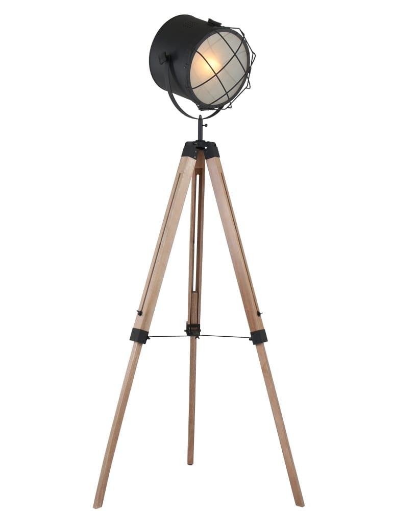 Verbazingwekkend Rooster driepoot vloerlamp Lumidem Dyce zwart - Directlampen.nl TI-77