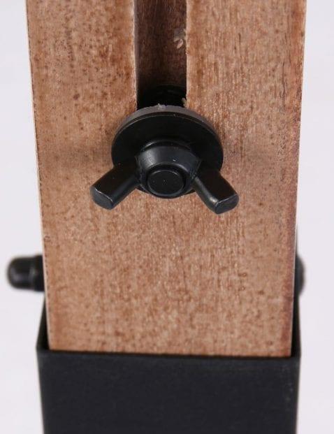 Houten vloerlamp met metaal