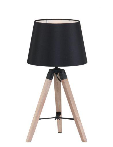 Zwarte houten tafellamp