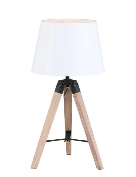 Landelijke tafellamp met witte kap