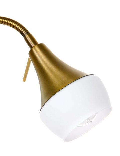 Bronzen staande lamp met leesarm