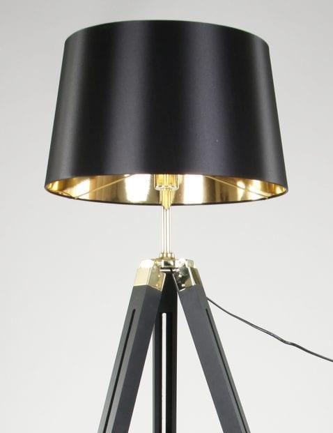 Zwarte vloerlamp met gouden details