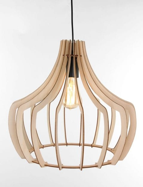 Grote houten eettafellamp