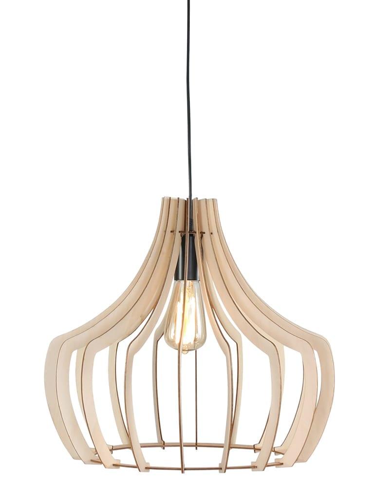 Open houten hanglamp Trio Leuchten Wood bruin ø44 cm