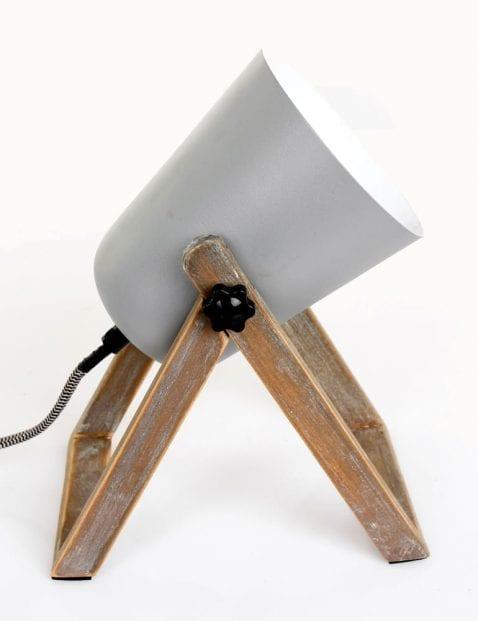 Grijze tafellamp met hout