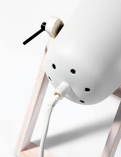 Tafellamp met wit hout