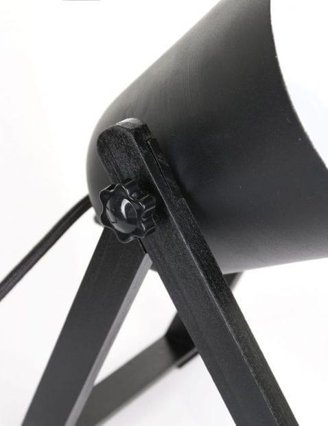 Metaal met houten lamp