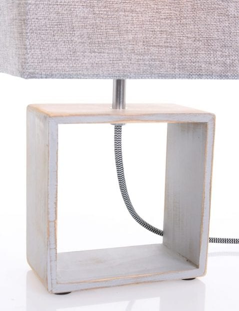 Houten tafellamp met stof
