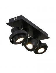 driespot zwart plafondlamp