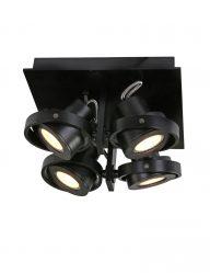 vierkante plafondlamp zwart
