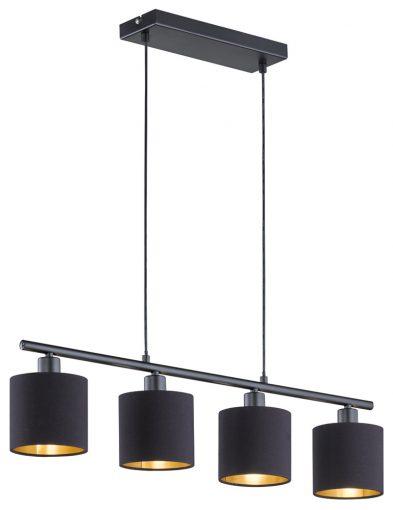 4lichts hanglamp met gouden binnenzijde