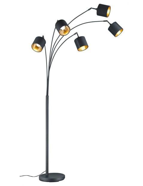 5lichts vloerlamp met gouden binnenzijde