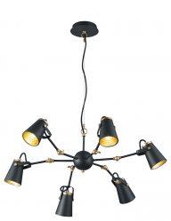 6lichts hanglamp met gouden binnenzijde